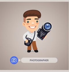 Photographer cartoon character with camera vector