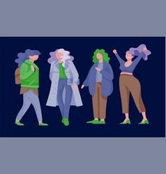 plus size women dressed in stylish clothing set vector image