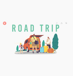 Road trip landing page template happy family vector