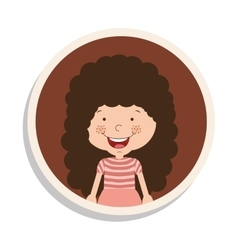 Round frame and girl with curly hair and smiling vector