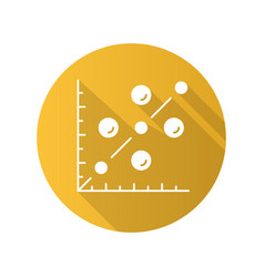 Scatter plot flat design long shadow glyph icon vector