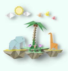 Scene with cut elephant giraffe and 3d fly island vector
