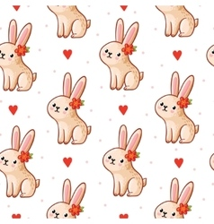 seamless pattern with cute bunny vector image