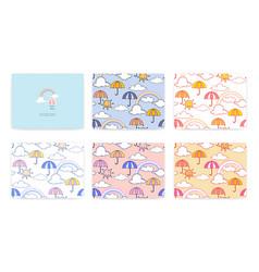 set cute rainbow and umbrella pattern vector image