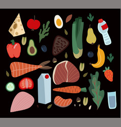 set healthy food such as meal vegetables vector image