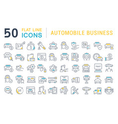 Set line icons automobile business vector