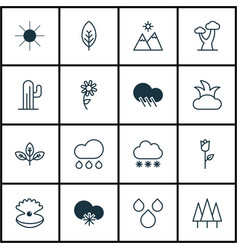 Set of 16 world icons includes rain landscape vector