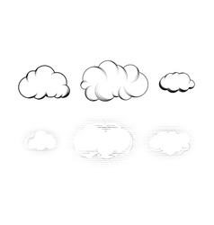 Set of six retro drawn engraving clouds isolated vector