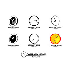 set time clock logo design template vector image