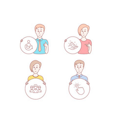 Share group and skin care icons touchpoint sign vector