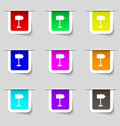 Signpost icon sign Set of multicolored modern vector
