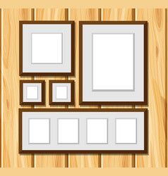 Square frames on wooden wall vector