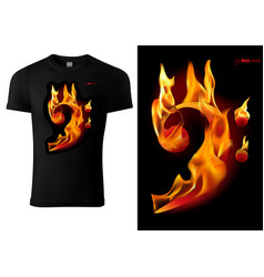 t-shirt design with flaming music sign vector image