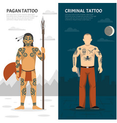 tattoo studio vertical banner set vector image
