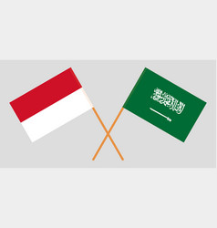 The indonesian and ksa flags vector