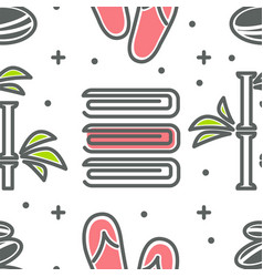 towel and bamboo with flip flops and stones vector image