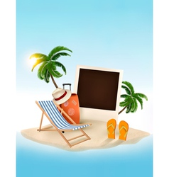 Travel background with beach chair and photo vector