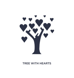 Tree with hearts icon on white background simple vector