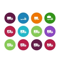 Truck circle icons on white background vector image