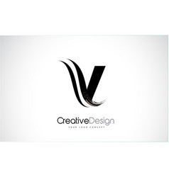 V letter design brush paint stroke vector