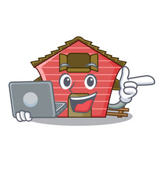 With laptop character red barn building with vector