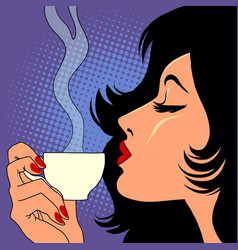 Woman drinking hot coffee vector