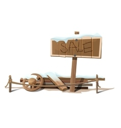 Wooden sign sale in snow and wreckage vector image