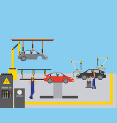 workers robot arms and assembly line automotive vector image