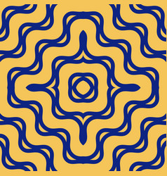 yellow and blue pattern with concentric lines vector image