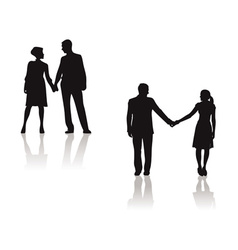 couples holding hands silhouette vector image
