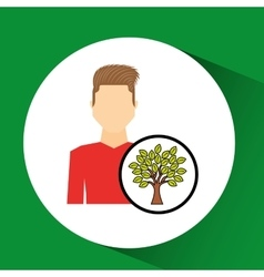man symbol environment eco tree icon design vector image