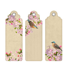 set of bookmarks with flowers vector image vector image