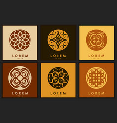 set of six abstract logo template vector image vector image