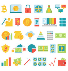 bitcoin mining money icons virtual crypto vector image
