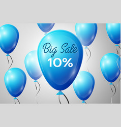Blue balloons with an inscription big sale ten vector