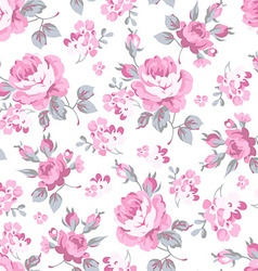 Floral pattern with pink roses vector image