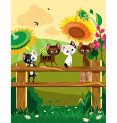 Kittys at summer vector image