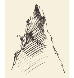 Sketch people climbing mountain peak vector image vector image