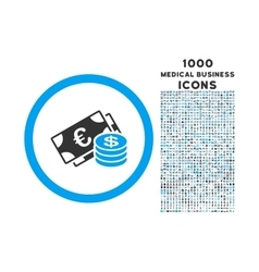 Euro and Dollar Cash Rounded Icon with 1000 Bonus vector image vector image