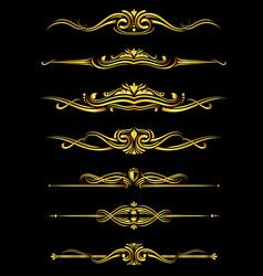 golden ornate borders set black background vector image
