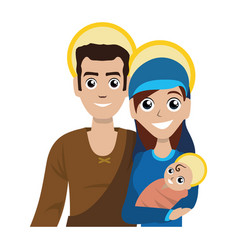 Joseph and mary with baby jesus cartoon vector