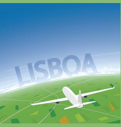 Lisbon flight destination vector