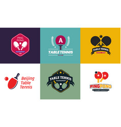 set of vintage color table tennis logos and badges vector image vector image