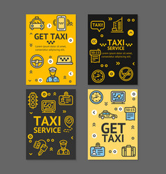taxi line service flyer banner posters card set vector image vector image