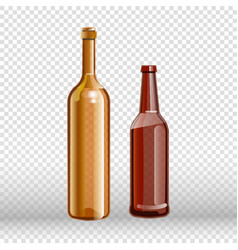 two empty bottles of wine and beer isolated on vector image