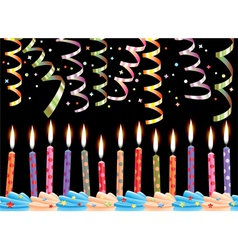 birthday candles and streamers vector image vector image