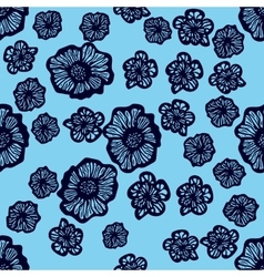 Blue and dark blue seamless flower pattern vector image