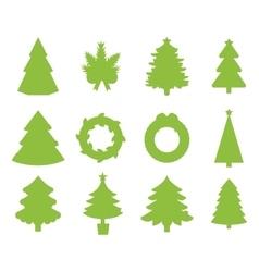 Christmas tree flat icons set vector image vector image