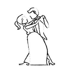 couple wedding dancing sketch vector image vector image