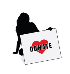 donate card with girl silhouette vector image vector image